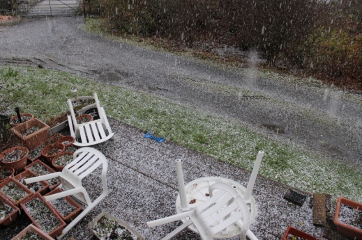The wind and hail leaving garden furniture worse for wear!